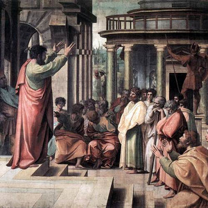 ST PAUL PREACHING IN ATHENS- Raphael